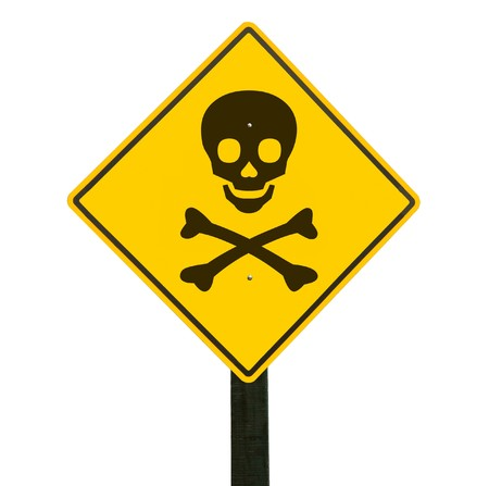 Yellow traffic sign with skull and crossbones photo