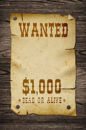 Old western wanted sign on wooden wall. photo