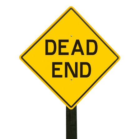 road sign: Yellow traffic sign with dead end symbol Stock Photo