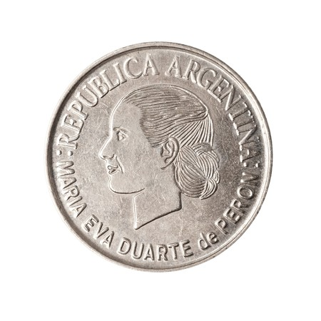evita: Coin from argentina, showing the face of famous political leader Eva Peron, AKA Evita.