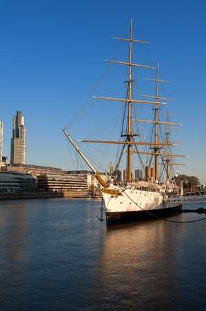 sarmiento: Old frigate in the harbor of Puerto Madero, touristic neighborhood in Buenos Aires, Argentina
