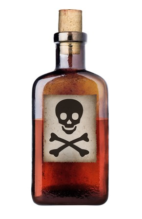 Poison bottle with warning sign in label