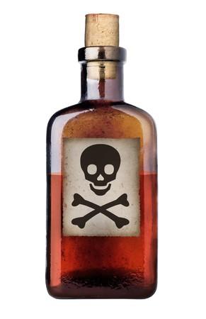 veneno frasco: Veneno botella con signo de advertencia en la etiqueta