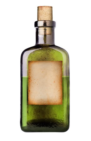 grunge bottle: Old fashioned drug bottle with label Stock Photo