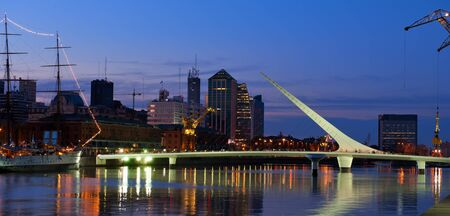 Puerto Madero neighbourhood at Night, view, Buenos Aires, Argentina.  Stock Photo