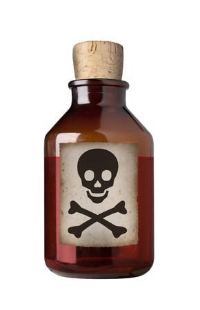 veneno frasco: Antiguo drogas envejecido de botella con la etiqueta