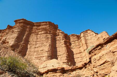 sierra: Cliff of sandstone, Sierra de las Quijadas national Park, Argentina. Stock Photo