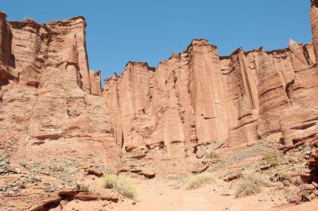 tertiary: Talampaya canyon national park, northern Argentina. Sandstone cliffs.