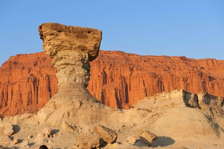 tertiary: Sandstone formation in Ischigualasto, Argentina, the one called the mushroom. UNESCO world heritage site.