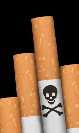 human body substance: Skull and crossbones hazzard sign in cigarettes.