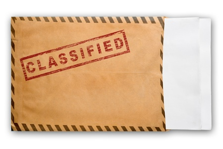 Open yellow envelope with top secret stamp and blank papers, on white background Stock Photo - 8278604