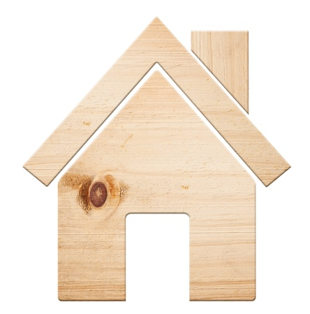 House icon  made out of wood, isolated Stock Photo - 8661989