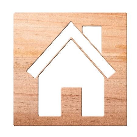 House icon  carved in of wood, isolated photo