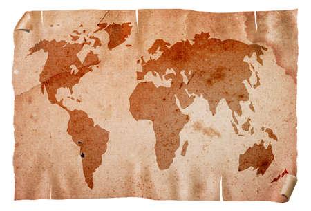 Vintage grungy world map, isolated on white background. photo