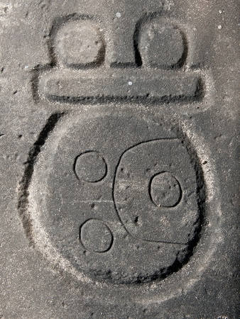 archaeological: Mayan glyph carved in stone, Nim Li Punit archaeological site, Belize.