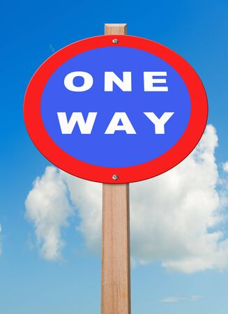 vertica: One way roadsign, with sky background, clipping path. Stock Photo