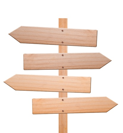 arrow wood: Signos de flecha hechas de madera aisladas, con fondo blanco y trazado de recorte.
