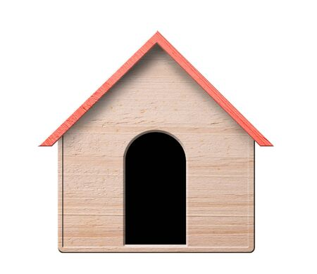 Hundehütte, isoliert auf weißem Hintergrund Standard-Bild