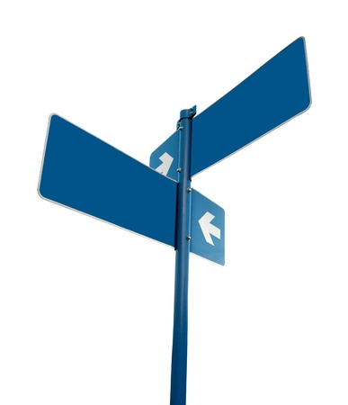 Blank blue road signs photo