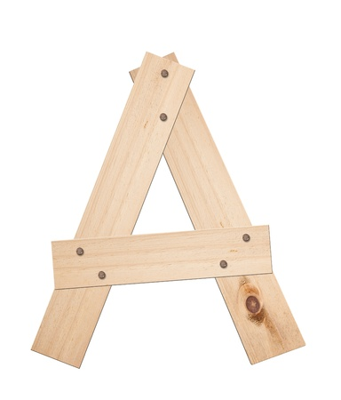 latin alphabet: Letter A, made of wood, isolated Stock Photo