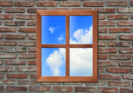 window pane: Brick wall with window. Stock Photo