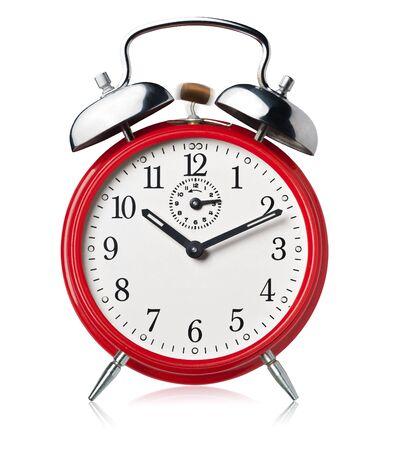 Red alarm clock, ringing, white background. Stok Fotoğraf