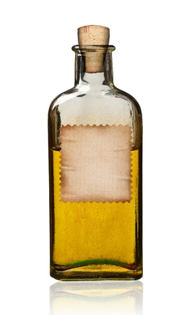 Old fashioned drug bottle with label, isolated, clipping path.