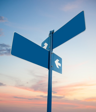 two way: Blank blue road signs in dusk sky, clipping path. Stock Photo