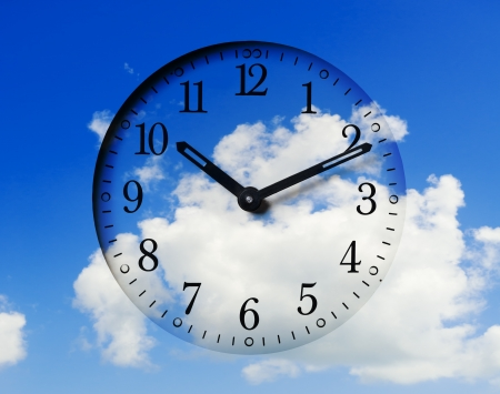 timely: Clock face with sky background.