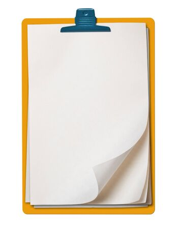 block note: Old note paper block isolated, white background, clipping path. Stock Photo