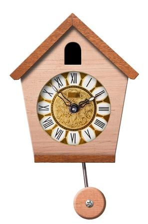 cuckoo clock: Reloj cuc� aislada sobre fondo blanco,