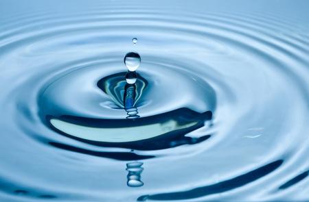 Falling Drop of water on blue.