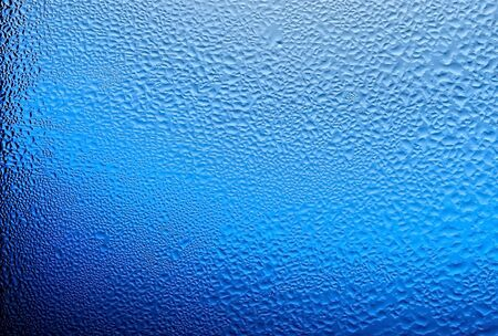 condensate: water drops on glass, color blue.