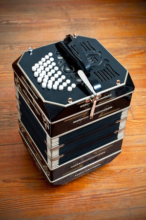 bandoneon: Traditional tango musical instrument, called bandoneon. Stock Photo