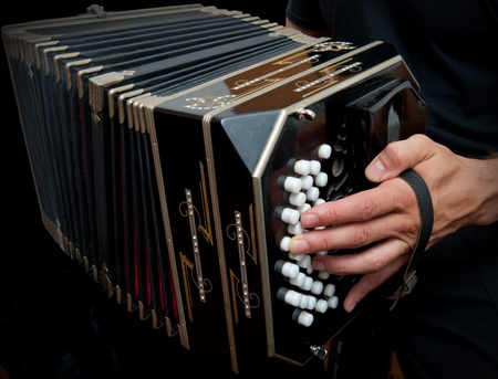 accordion: Playing the bandoneon, traditional tango instrument, Argentina. Stock Photo