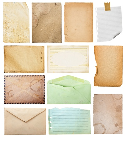 vintage paper collection, isolated in white background. photo