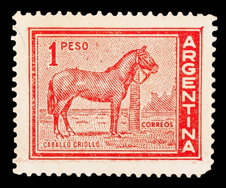ARGENTINA - CIRCA 1959: A post stamp printed in Argentina shows a criollo horse, the native horse of Argentina. Argentina, circa 1959.