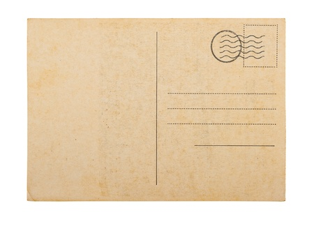 Old blank post card white background Stock Photo - 12869029