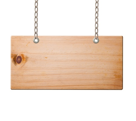 hanging sign: Wood sign isolated on white