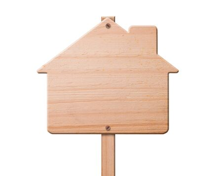 wooden house: House sign made out of wood, isolated,