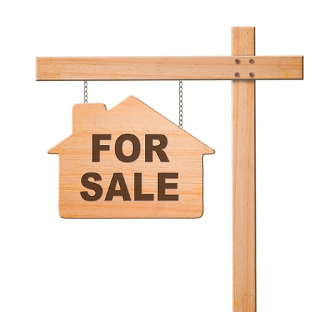 real estate sold: Real estate sign isolated, white background Stock Photo