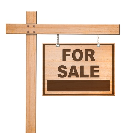 Real estate sign isolated, white background Stock Photo - 13345890