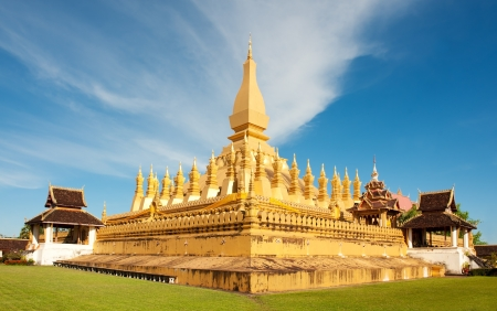 vientiane: Pha That Luang stupa in  Vientiane, Laos. The most important national monument in Laos. Stock Photo