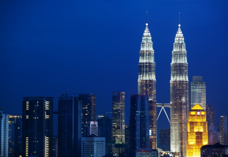 upperdeck view: Cityscape of Kuala Lumpur, Malaysia. Petronas twin towers at KLCC.