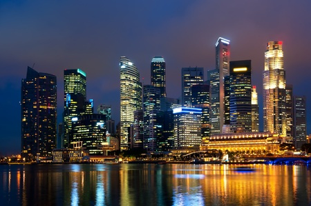 Singapore skyline at night. photo