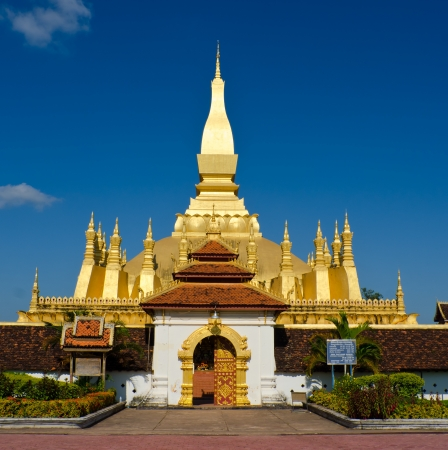 buddhist stupa: Pha That Luang stupa in  Vientiane, Laos. The most important national monument in Laos. Stock Photo