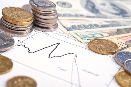Zakelijke diagram op financieel rapport met munten en dollars.
