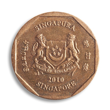 Singapore dollar coin, white backgroudn, clipping path. photo