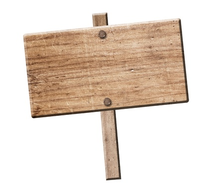 Wood sign isolated on white with clipping path.  스톡 콘텐츠