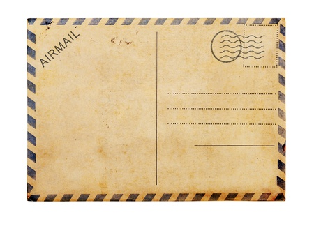 Old blank post card white background, clipping path. photo